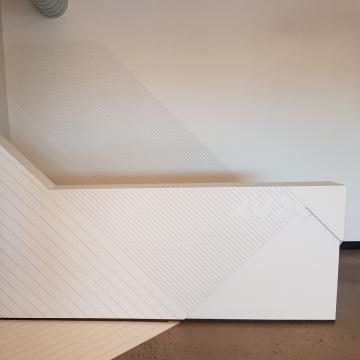 Murale, murs meuble et plancher, avec découpe de logo